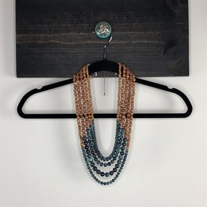 Multi strand beaded statement necklace